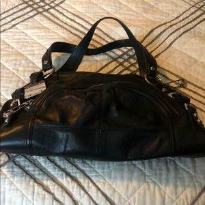 Learher black shoulder bag, b.makowsky
